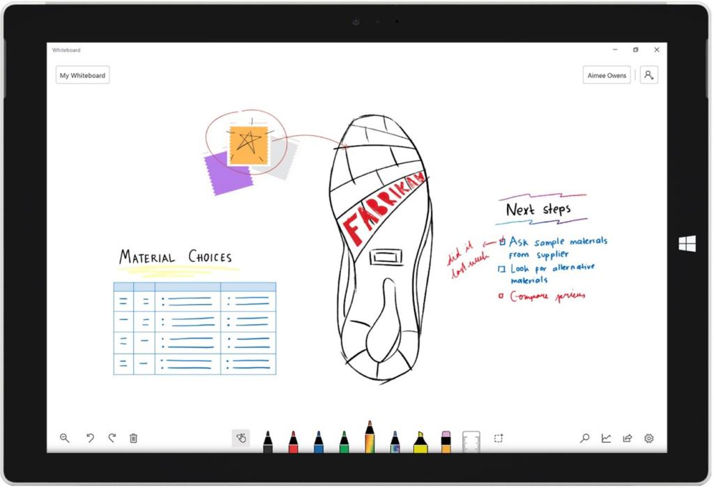 Zeichnen, kritzeln, Schreiben: Mit der neuen kollaborativen App Whiteboard ermöglicht Microsoft das gemeinsame Arbeiten an einem Dokument über mehrere Geräte hinweg. (Bild: Microsoft)