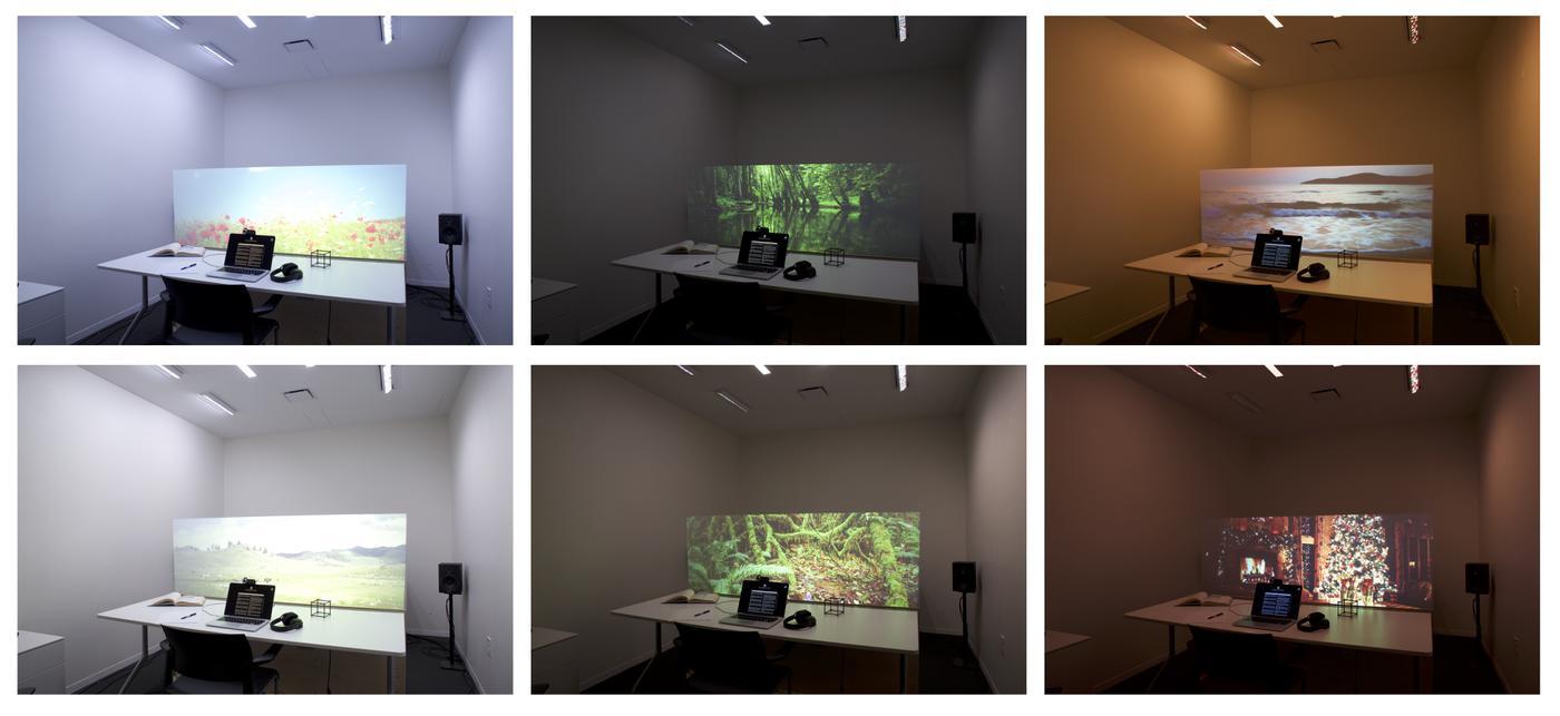 Verschiedene atmosphärische Szenen des Projektes sollen unterschiedliche Arbeitsumgebungen simulieren. Eine KI wählt die für den jeweiligen Nutzer die bestmöglichen Einstellungen und Szenen. (Bild: Nan Zhao, MIT, CC BY-NC-ND 4.0)
