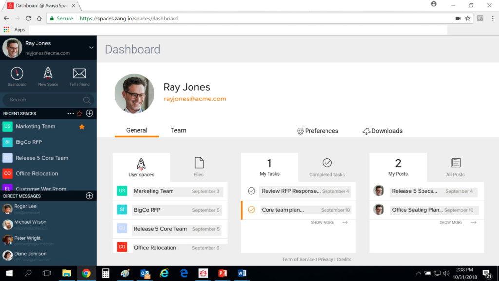 Das Dashboard bietet eine Übersicht über den Stand der eigenen Aufgaben, der Kommunikation und der Projekte. (Foto: Avaya)